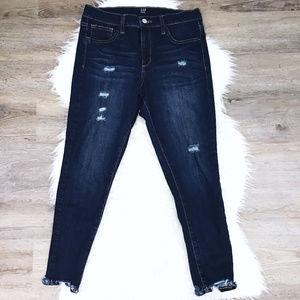 [Gap] Dark Wash Raw Hem Ripped Skinny Jeans